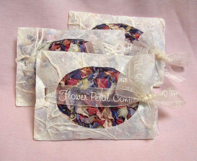 Confetti Envelopes with Delphinium Petal Confetti. The Real Flower Petal Confetti Company