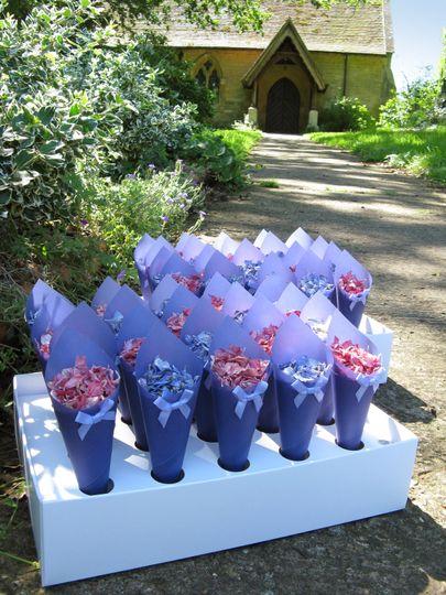Confetti Cones outside the church. The Real Flower Petal Confetti Company