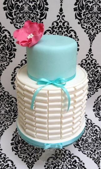 Two Tier Pleated Barrel Cake