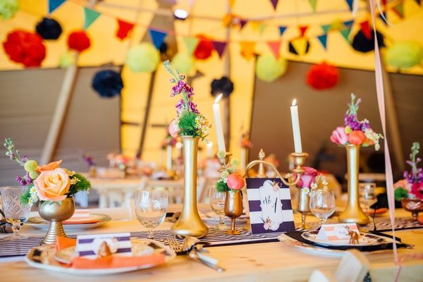 Rainbow bunting in tipi