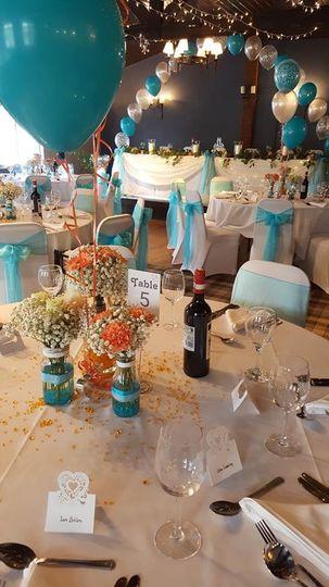 Blue chair sashes