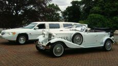 Limo and classic car