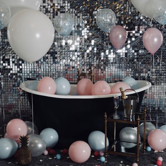 silver sequin backdrop hire