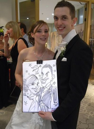Joe and Rachel, The newly weds at a wedding in Totworth Court.