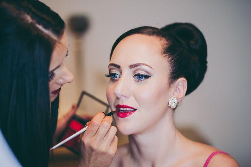 Classic red lip wedding makeup