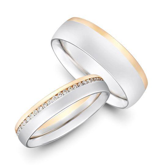 two colour gold diamond set bands 4 106166
