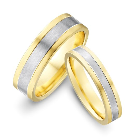 two colour gold flat striped wedding bands 4 106166
