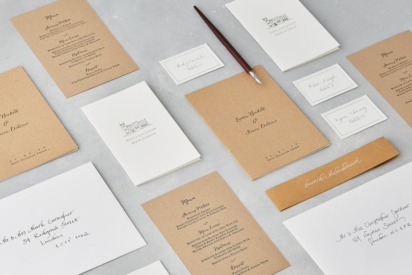 Kraft Letterpress Wedding Stationery