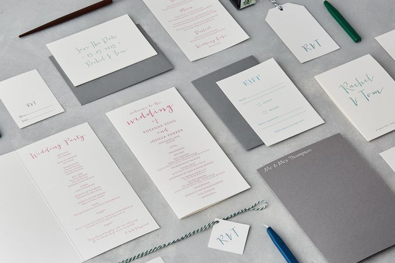Contemporary calligraphy letterpress stationery