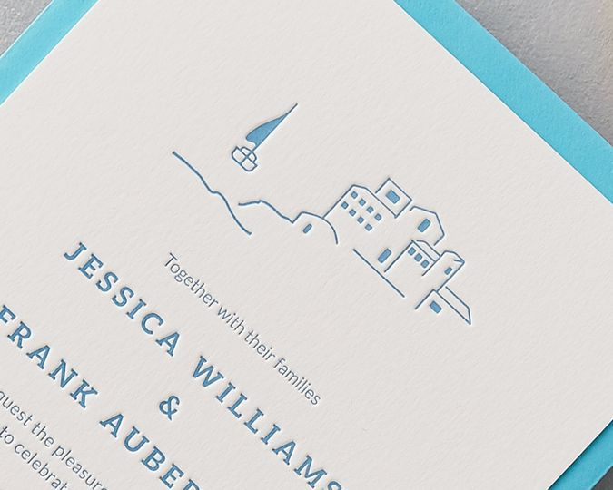 Letterpress island wedding invitation