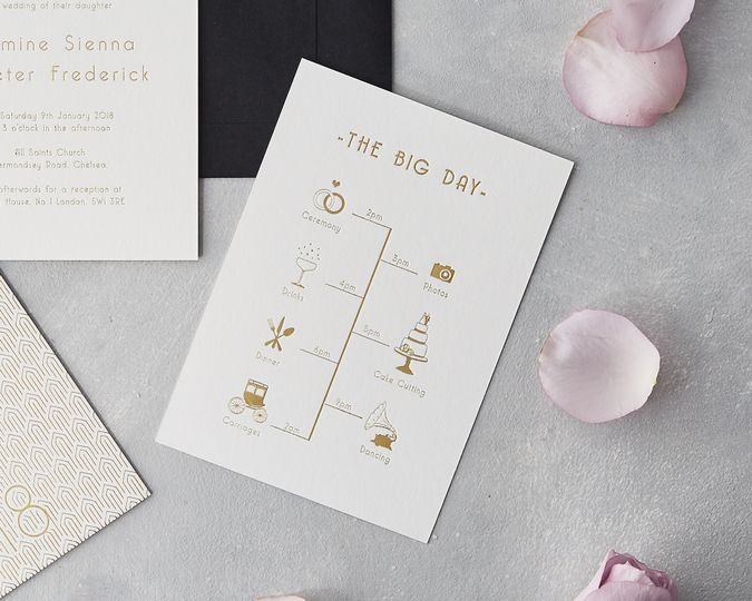 Gold foil wedding timeline