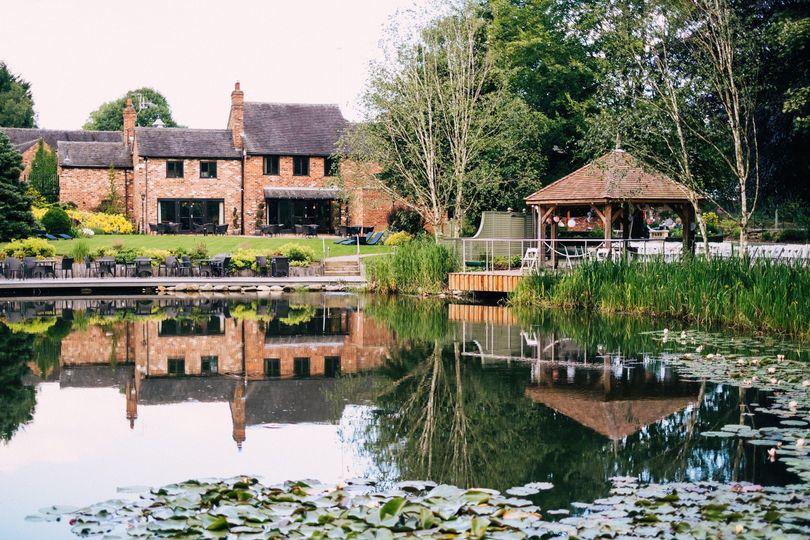 View of Moddershall Oaks across the lake