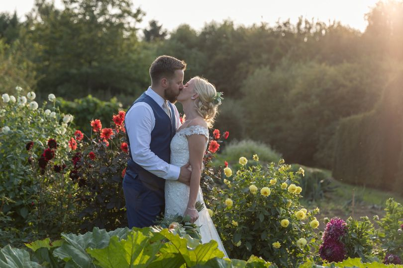 Golden Hour Bride and Groom portraits at The Gardens in Yalding