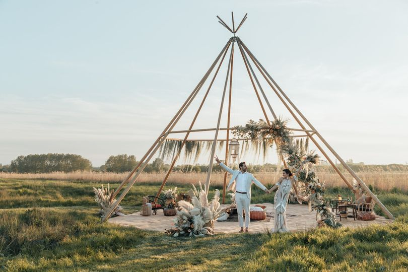 Naked Tipi Boho wedding at The Wilderness Wedding Venue in Kent