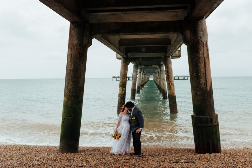 Bride and Groom photo at Deal Pier in Kent