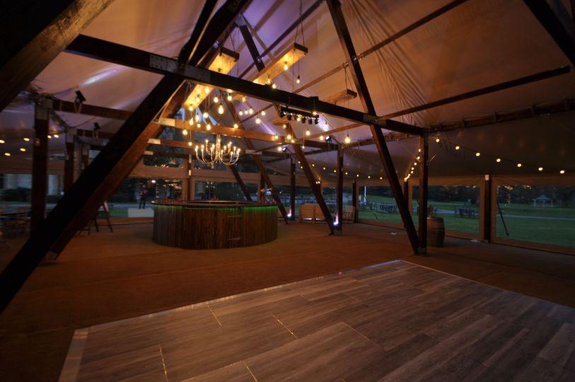 Cruck tent with dance floor