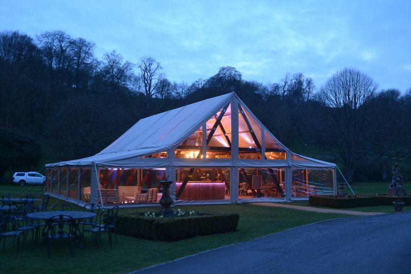 Cruck tent at dusk