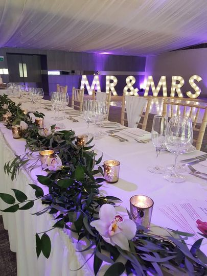 Mr & Mrs light-up lettering