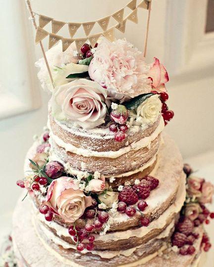 Boho style naked wedding cake
