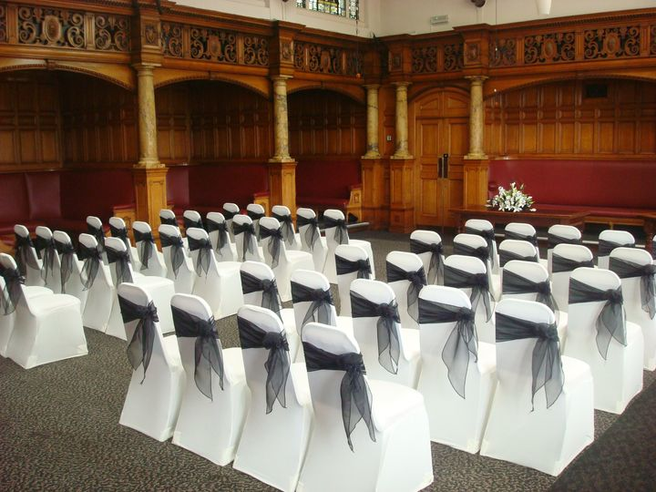 Black & White Chair Covers, Matlock County Hall