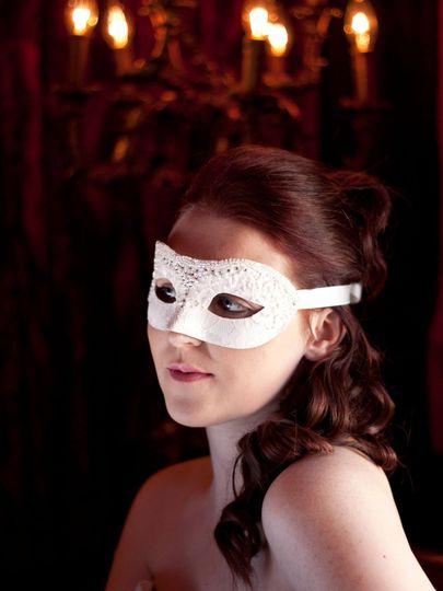 Beaded ivory & swarovski mask