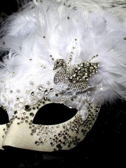 White swarovski swan mask