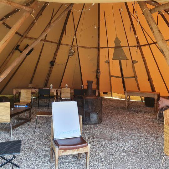 Inside a tipi tent
