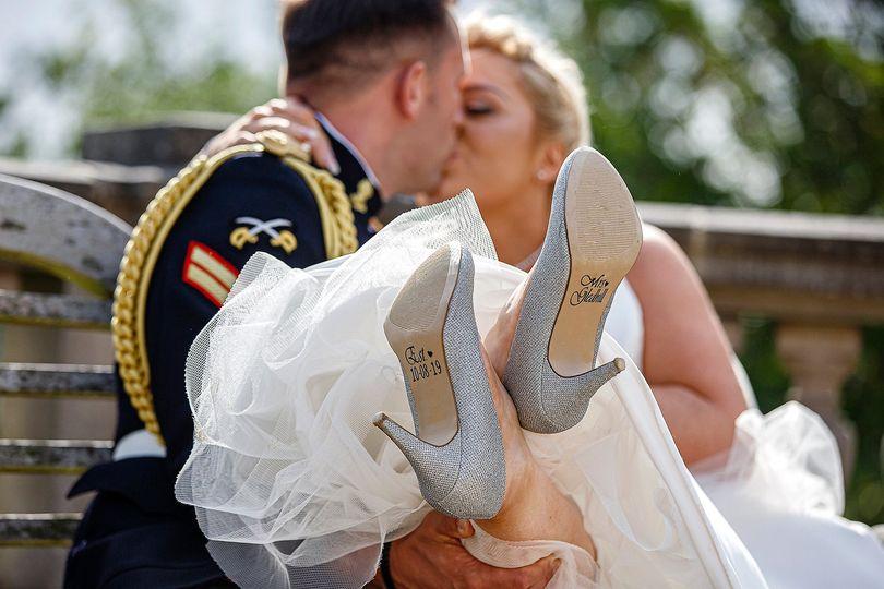 Inscription on brides shoes