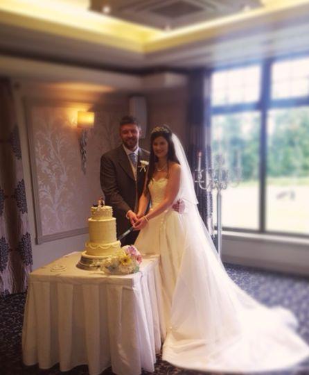 Duchess wedding cake and bride