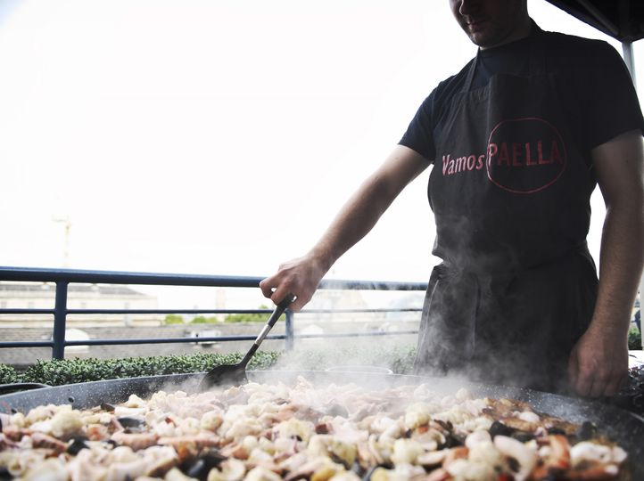 Paella party on a London rooftop