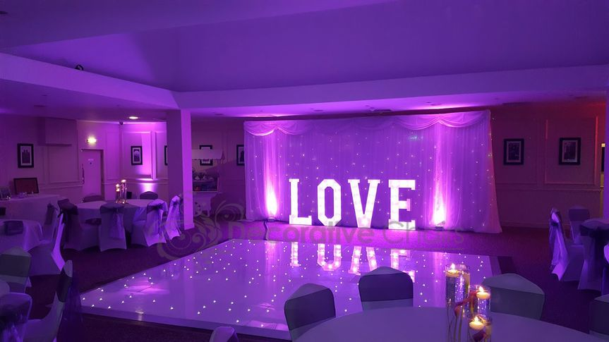 twinklebackdrop dancefloor and love letters at mosborough hall sheffield south yorkshire by decorative chairs venue ideas and venue styling 4 106331