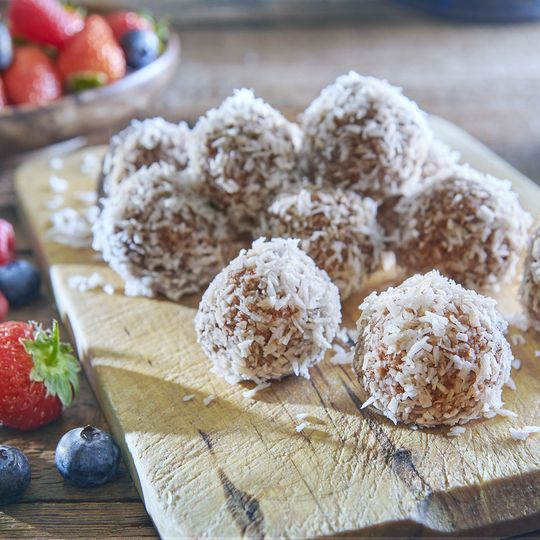 Coconut-dusted balls