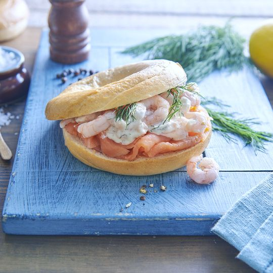 Prawn and salmon bagel
