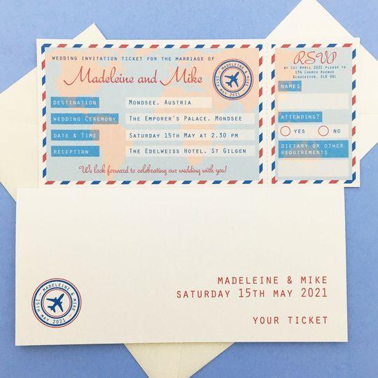Travel Ticket wedding ticket