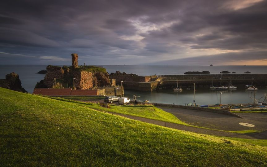 Looking down to Dunbar harbour