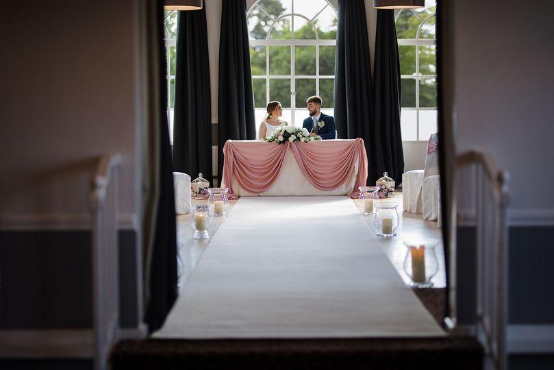 Newlyweds seated together