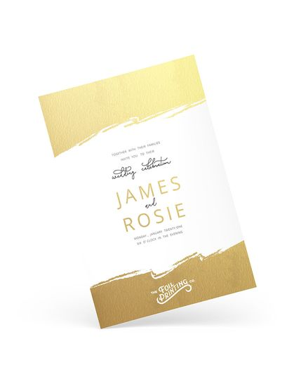 Gold classic wedding invitation
