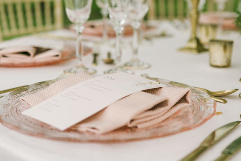 Romantic blush menu card