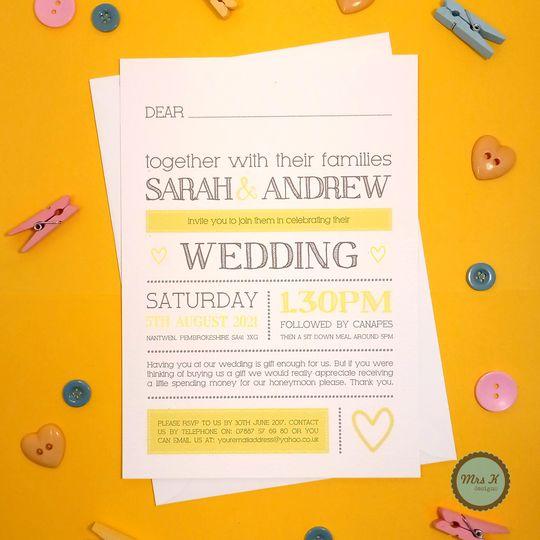 Colour Heart Wedding Invite