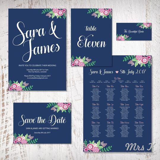 navy floral wedding set 4 116391 v1