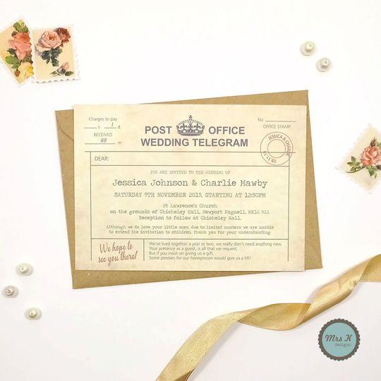 vintage telegram wedding invitation 2021 4 116391 161858000620276