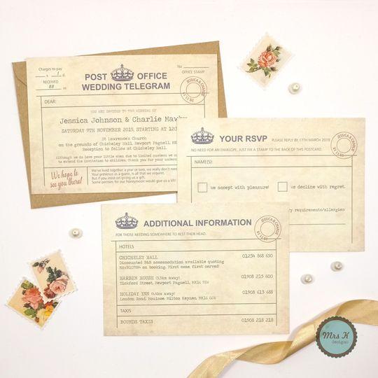 Vintage Telegram Wedding Set