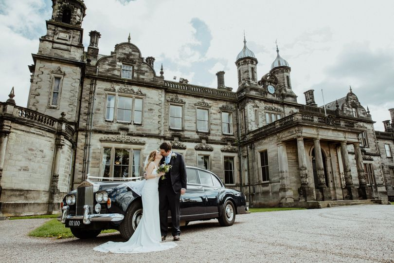 Wedding car at front of hall