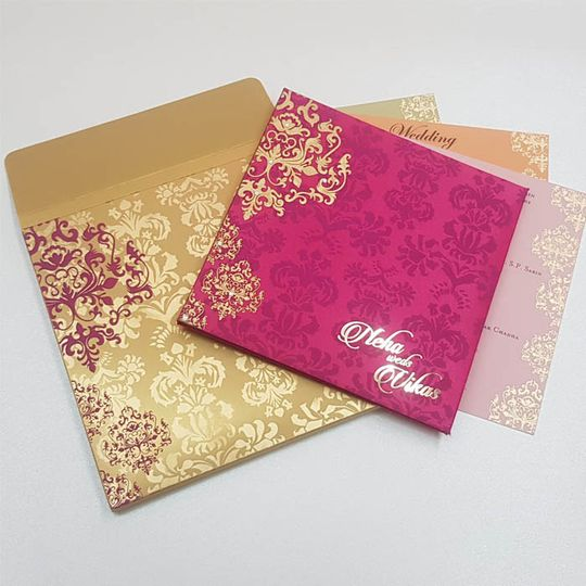 Gold and hot pink wedding invitation