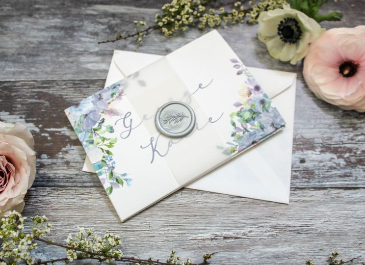Blossom concertina invitation