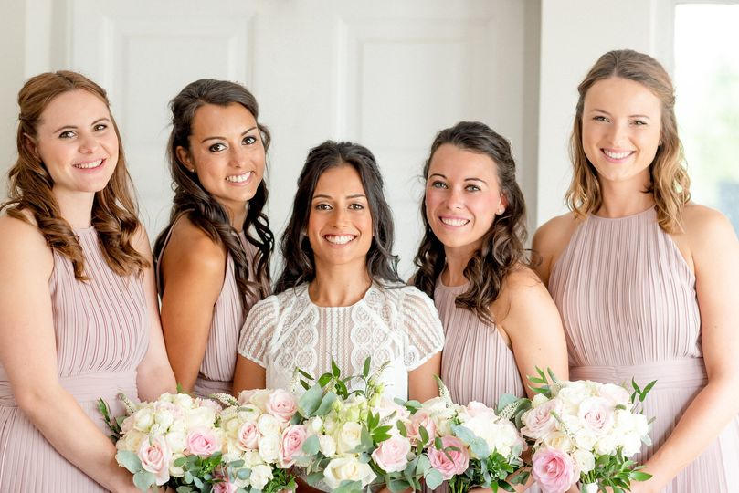 Classic English roses and eucalyptus bouquets