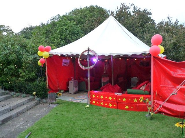 Vintage party tent hire devon, cornwall for side show.