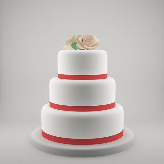 Three tier with red ribbons and flower topper