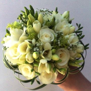 Fresia and rose bouquet