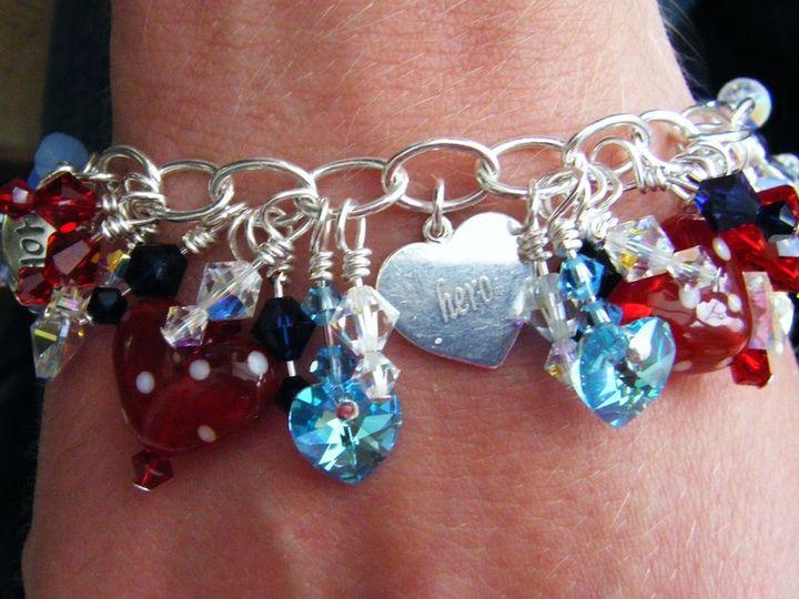 Swarovski crystal and handcrafted lampwork charm bracelet commission